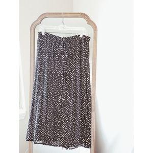 ZARA Speckled Button Front Tie Waist Midi Skirt